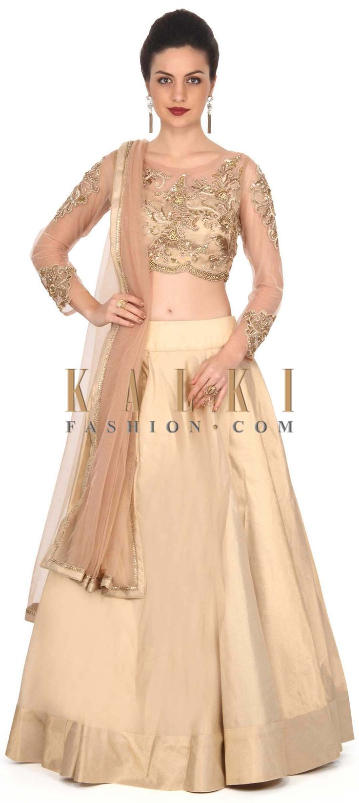 Buy this Champagne gold lehenga matched with embroidered border only on Kalki