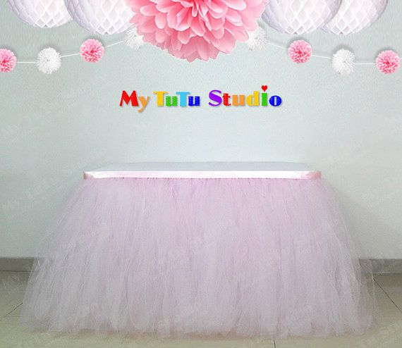 Light Pink Tulle Table Skirt Table TuTu for Baby by MyTuTuStudio