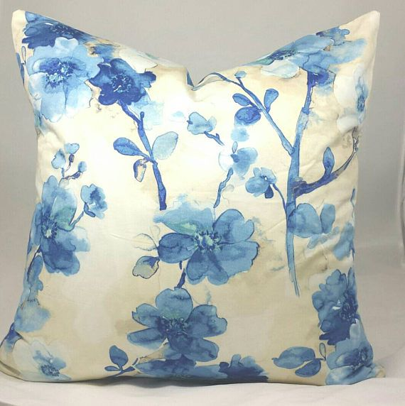 Blue and Cream Cushion Cover. Multiple sizes available.