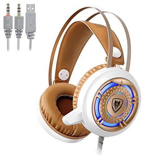 FarCry 5 Gamer  #Gaming #Computer #Headphones with #Microphone 3.5mm #USB #Headset Over #Ear for #PC #Games with #LED #Light & #Protein #Earpads (White+Gold)   Price:     SPECIFICATIONS:Model:Nubwo N1Directivity: OmnidirectionalSpeaker Diameter:50mmFrequency Response:20-20KHzMax Input Power:50mWHeadset Interface:3.5mm+USBCable Length:2.2 metersItem Weight:0.37kgBEAT ENEMIES WITH COOL NUBWO WIRED #COMPUTER #GAMING HEADSET! Fashion/Comfortable/Performance Three-in-oneCool #LED