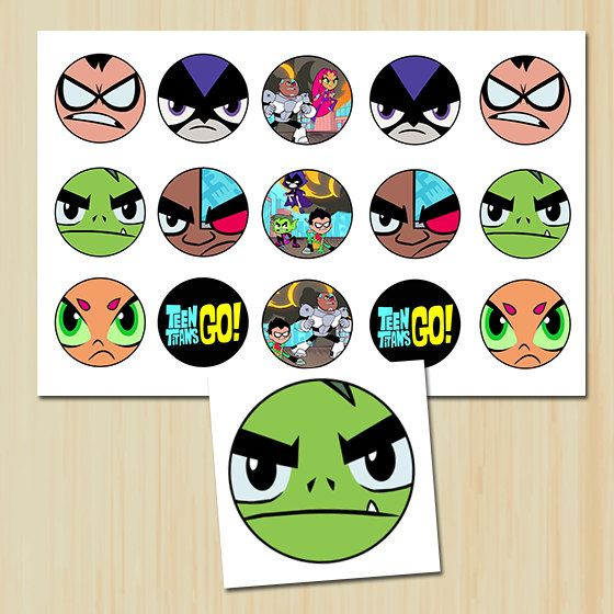 INSTANT DOWNLOAD  1 Circle Teen Titans Go  by ChenillePartyDecor, $1.79