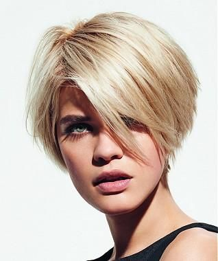 A Short Blonde straight coloured side-parting choppy womens haircut hairstyle by Franck Provost