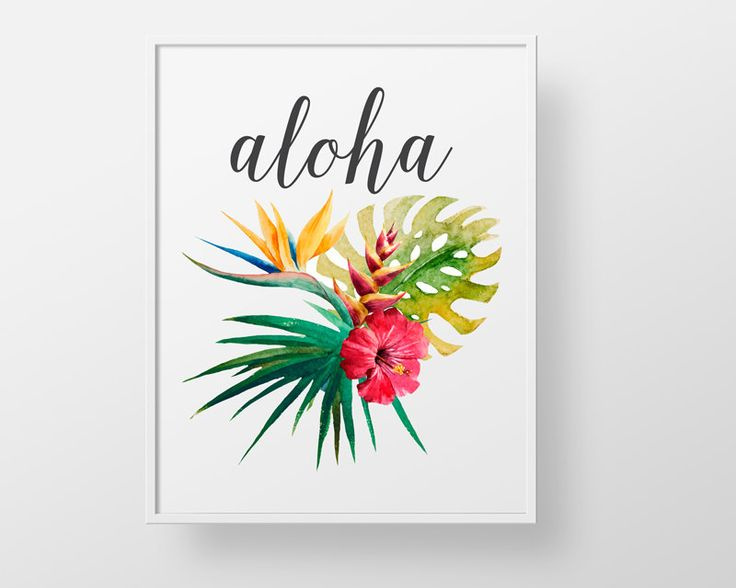 Aloha Hawaiian - print wall decor art - tropical flower palm vintage hawaii…
