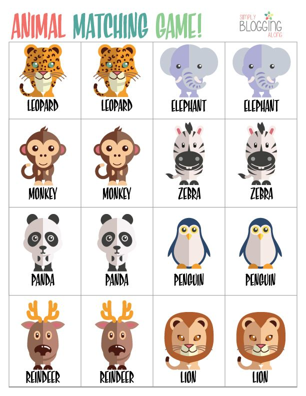 kindergarten matching games printable | Not only can memory games improve your child's memory, but they can ...