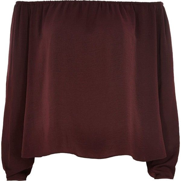 River Island Red bardot top (€17) ❤ liked on Polyvore featuring tops, shirts, red long sleeve top, off the shoulder shirts, long sleeve shirts, beach tops and long sleeve tops
