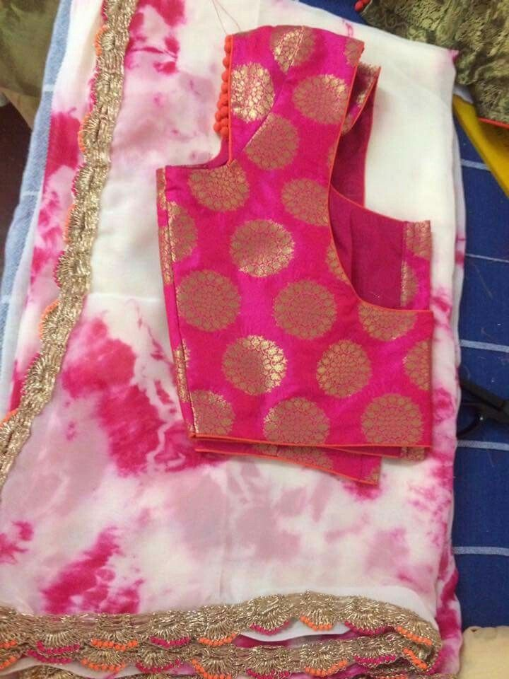 Courtesy... peach design boutique. Love the colours and how tie and dye are matched with brocade