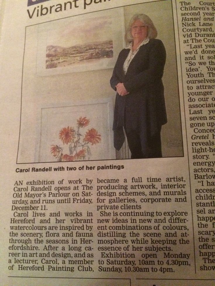 Carol Randell in #Hereford Times https://www.facebook.com/Old-Mayors-Parlour-787136191326032/events