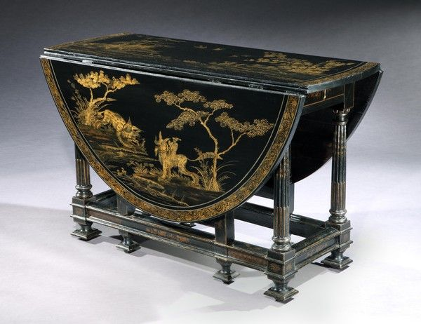 A William and Mary Japanned and Gilt Gateleg Table from Hinton House