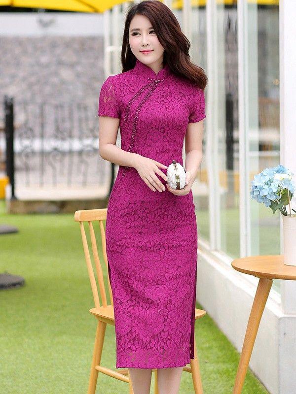 Midi Lace Qipao / Cheongsam Party Dress with Beads