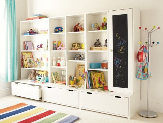 Toy storage unit (IKEA). I need an idea for this once we finish the basement!! Looks great!!