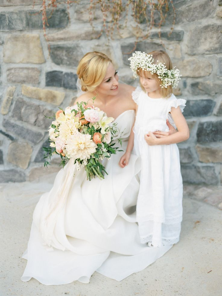 flower girl with baby's breath halo