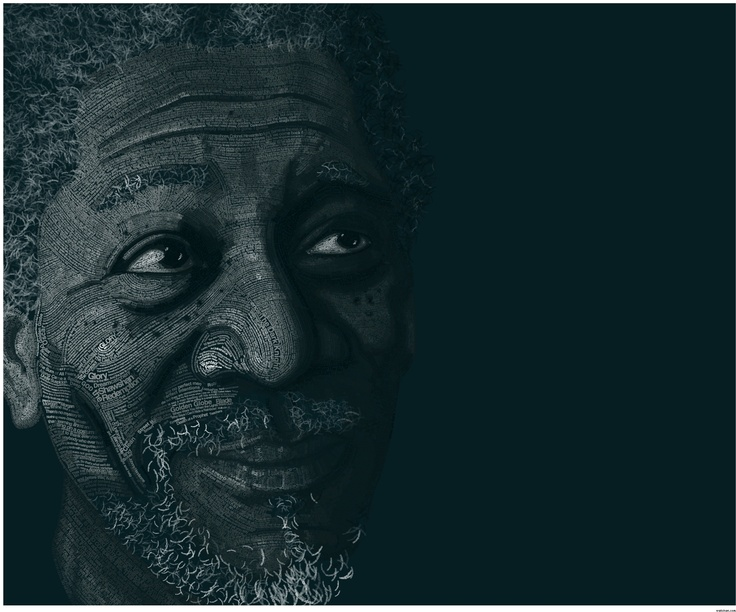 Morgan Freeman: Design Inspiration, Morgan Freeman, Design Magazines, The Artists, Quote, Words Art, Typographic Portraits, Typography Art, Typography Inspiration