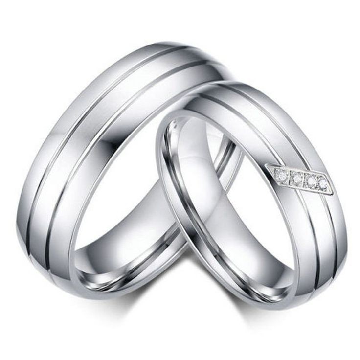 Stainless Steel Couples Promise Rings