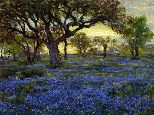 The Athenaeum - Old Live Oak Tree and Bluebonnets on the West Texas Military Grounds, San Antonio (Julian Onderdonk - 1919-1920)