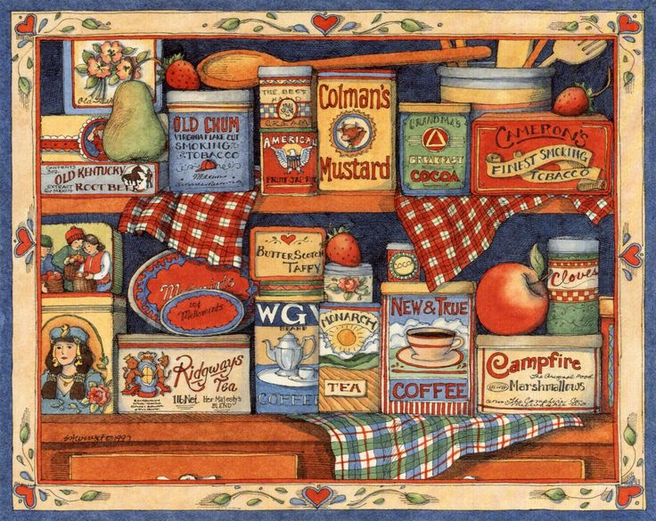 Susan Winget country cupboard collage Resim, Decoupage