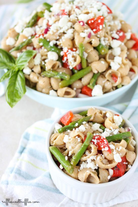 Easy pasta salad recipe with asparagus, roasted red peppers, and goat ...
