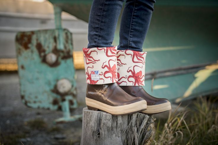 We're pretty pumped to announce the new women's boots we've made in collaboration with Xtratuf for all our Salmon Sisters. We designed ocean-inspired patterns t