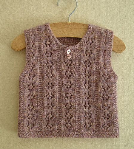 Knitting pattern for the cutest vest. Worked in my all-time favourite eyeletpattern.