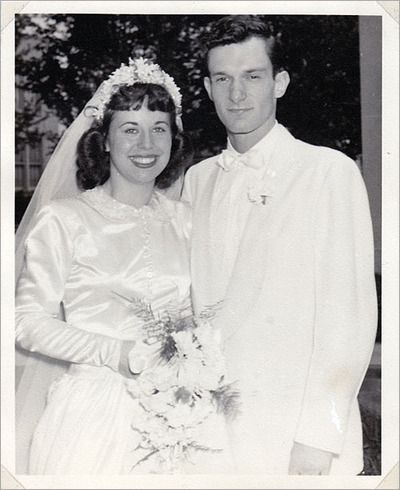 Hugh Hefner & first wife Mildred Williams on their wedding day, 1949