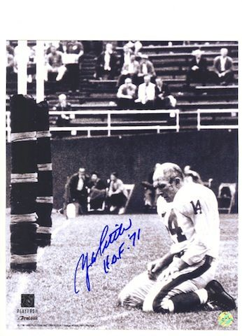 "Autographed Y.A. Tittle New York Giants 16x20 Photo Inscribed """"HOF '71""""."