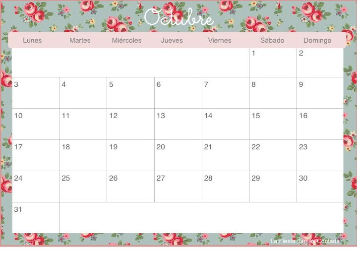 calendario 2016 imprimible-octubre Más