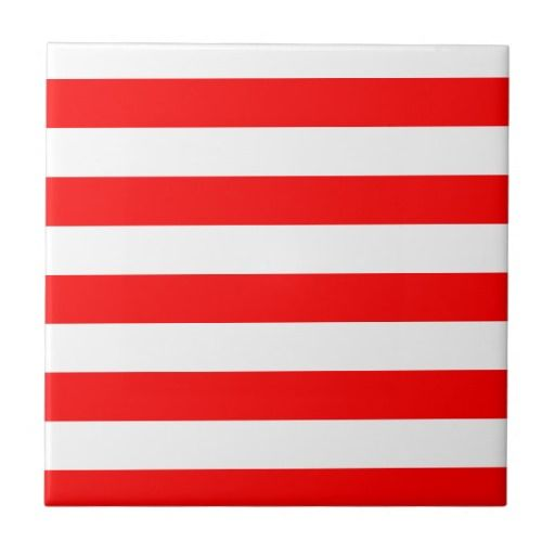 Stripes - White and Red Small Square Tile