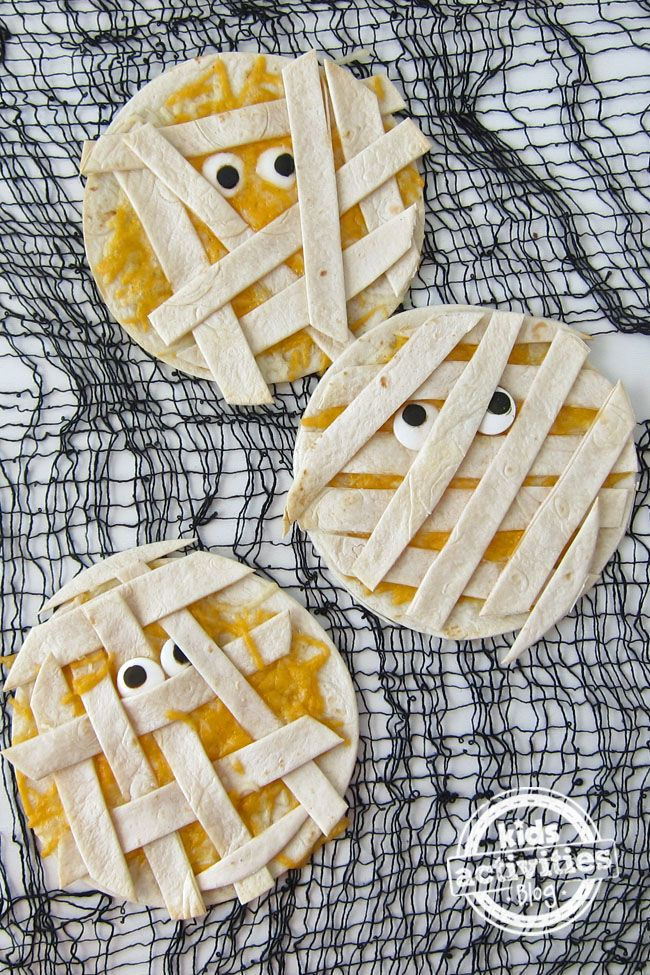Goodness, are these ever cute! Quesadilla Mummies for a fun and memorable meal for the kiddos.