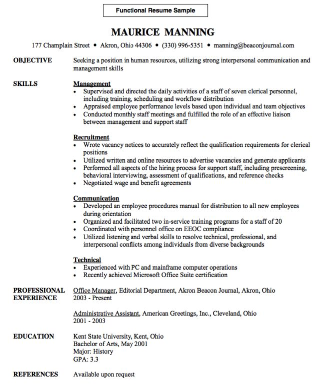 Functional Resume Sample -    resumesdesign functional - blood bank manager sample resume