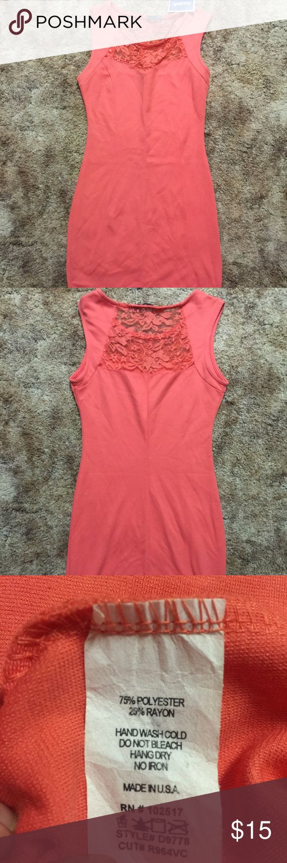 Dress Beautiful coral colored dress. Stretch material never been worn Dresses Mini