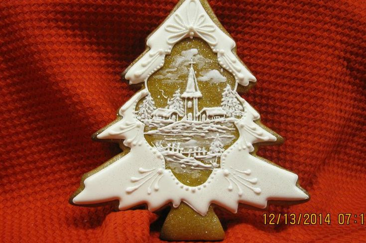 Christmas cookie Tree with Winter Scene Inset