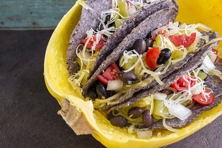 skinny spaghetti squash tacos recipe serves 5 low fat low calorie and vegetarian view of tacos already made 3 tacos
