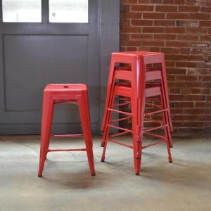 AmeriHome Loft Style 24 in. Stackable Metal Bar Stool in Red (Set of 4) BS24REDSET at The Home Depot - Mobile