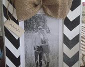 Distressed 8 x 10 Black and White Chevron Frame with Burlap Bow Great For Engagement or Wedding Photo