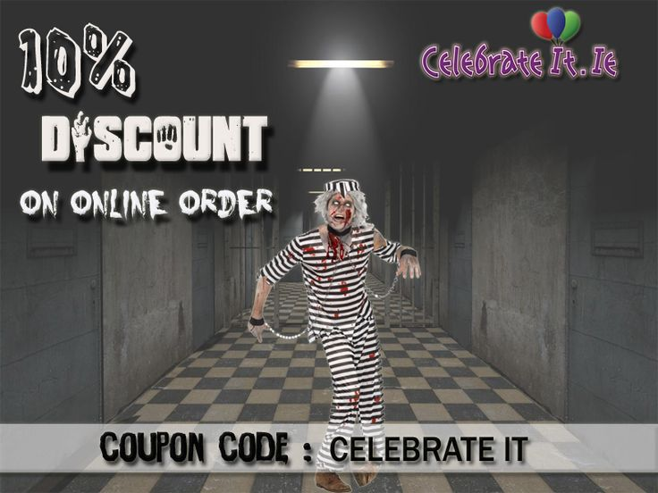 A great chance to buy attractive #Halloweencostume for adults that looks like a jumpsuit with black and white striped with 10% discount on online order.