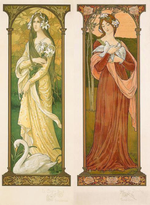 • Le Cygne : Innocence • Les Colombes : Tendresse • Le Paon : Majesté • Les Hirondelles : Souvenir by Elisabeth Sonrel (1874-1953).