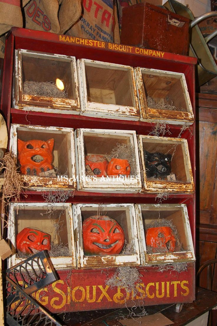antique paper mache pumpkins displayed at ms macs antiques carver mn location fall halloweenhalloween ideasvintage