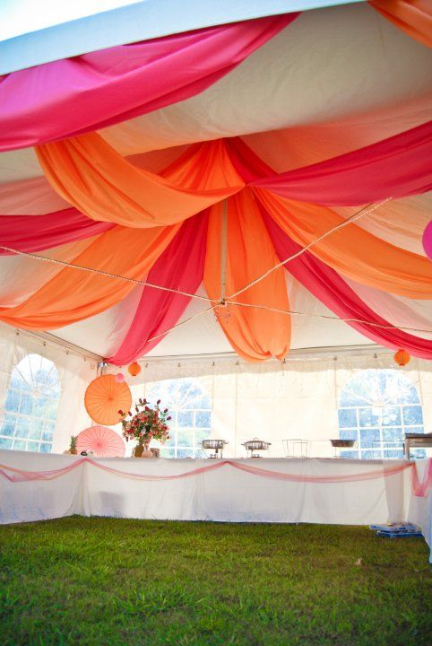 tent decoration looking like a blossoming flower paper lanterns in the center of the - Orange Canopy Decorating