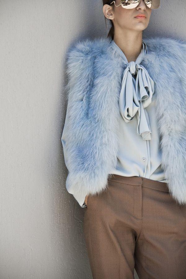 blue faux fur, by Diane von Furstenberg| Shades by Victoria Beckham| via splashstudio -- great colour combination
