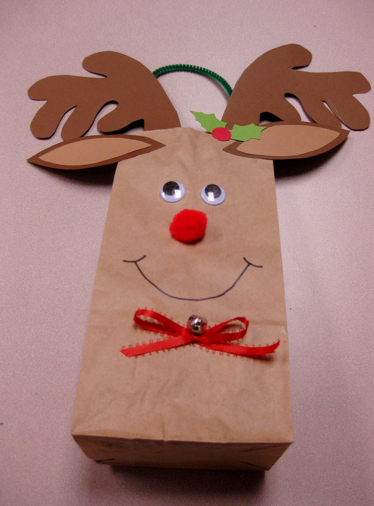 Rudolph gift bag inspired by Oriental Trading kit- huge hit with patrons at December program