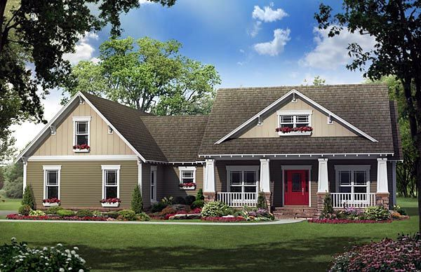 House Plan 59196 | Cottage Country Craftsman Plan with 2118 Sq. Ft., 4 Bedrooms, 3 Bathrooms, 2 Car Garage at family home plans