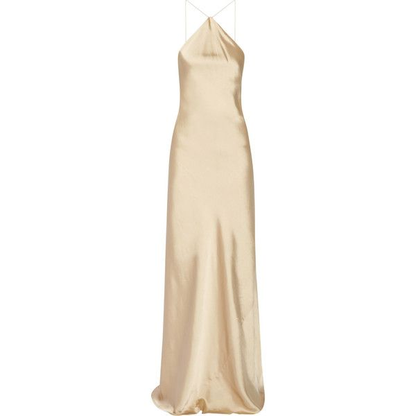 Calvin Klein Collection Satin halterneck gown ($1,900) ❤ liked on Polyvore featuring dresses, gowns, dresses/gowns, neutrals, pink satin dress, pink evening gowns, satin slip dress, slip dress and pink gown