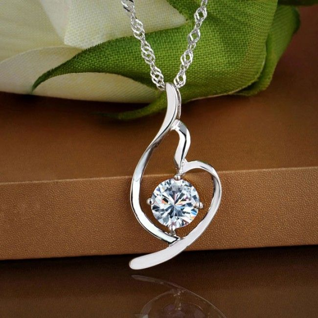 Love Crystal Diamond Silver Necklace for only $23.00 ,cheap Fashion Necklaces - Jewelry&Accessories online shopping,Love Crystal Diamond Silver Necklace show romantic love which is a perfect gift for her! #Diamondzul #DiamondNecklace #Pricepointshop