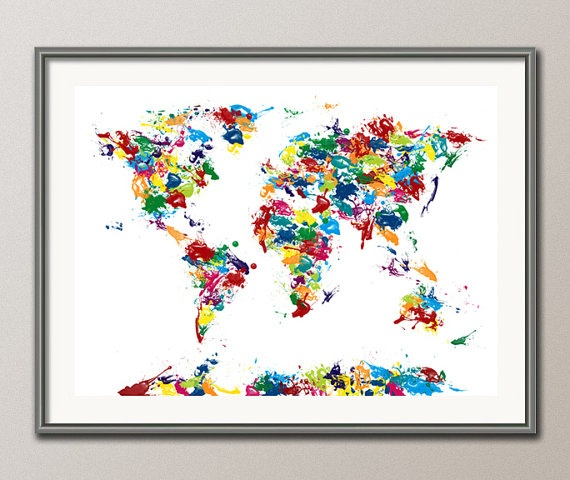 20 best world map painting diy images on pinterest map painting abstract painting map of the world map art print 225 gumiabroncs Images