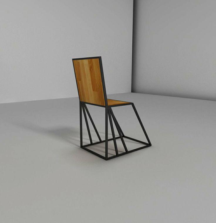 Chair, iron, steel, wood, krzesło, metal, drewno, Kraina ES