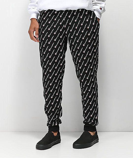 9d81580bf8b Champion Reverse Weave Print Black Jogger Sweatpants in 2019
