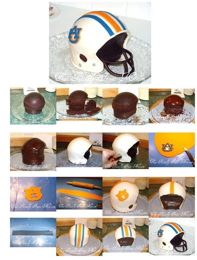 Football Helmet Cake - War Eagle      http://www.thatreallyfrostsme.com/2011/01/football-helmet-cake-war-eagle.html