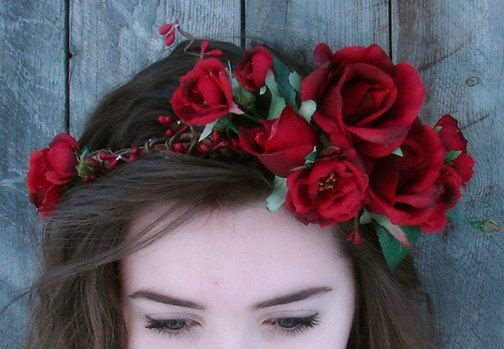 To go with Sally's red taffeta dress, I'm thinking pre-Raphaelite style floral halo, made using some of the left over fabric from the dress...something like this one  Red Rose Flower Crown Red Rose Floral Crown by FairyWinkDesigns, $55.00