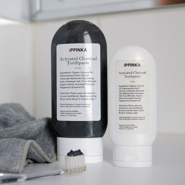 The Activated Charcoal Toothpaste is made of various natural ingredients that are beneficial to teeth and gums. Activated charcoal is a powerful cleaning agent that polishes and whitens teeth, and organic coconut oil is used for its antibacterial properties. The peppermint-flavored paste also includes Himalayan pink salts that are rich in minerals to soothe sore gums.