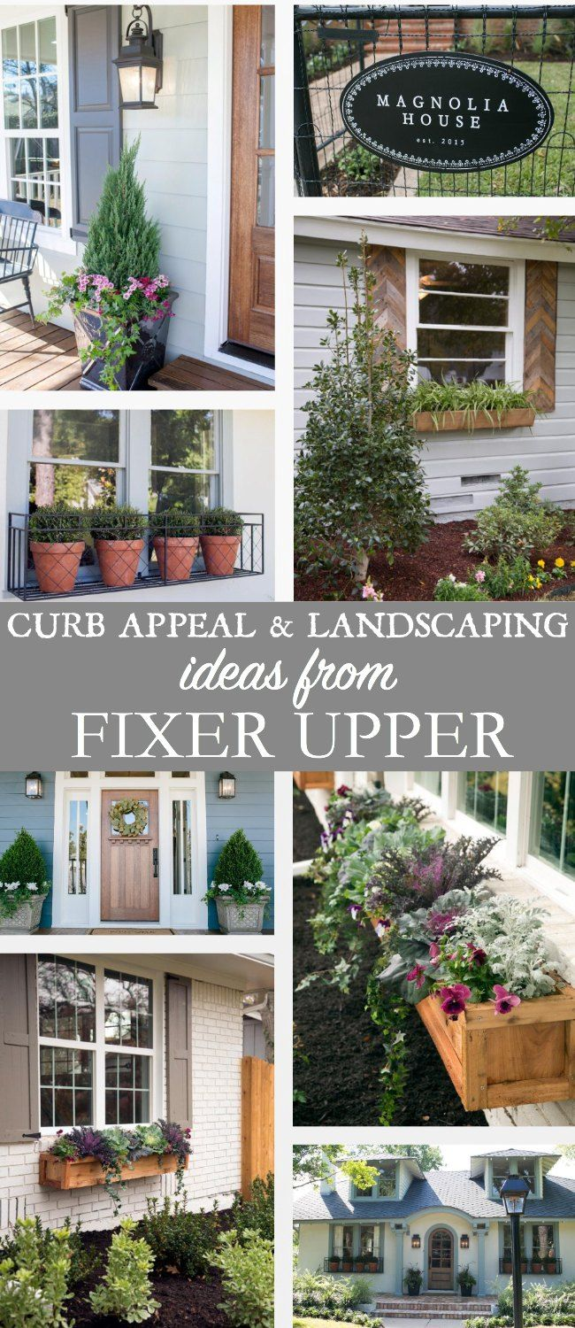 Curb Appeal and Landscaping Ideas from Fixer Upper to be inspired by. Flower containers or urns, window boxes, and landscaping ideas from Fixer Upper.