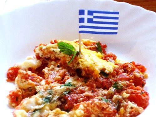 Strapatsada - Oeufs brouillés à la tomate, menthe et feta